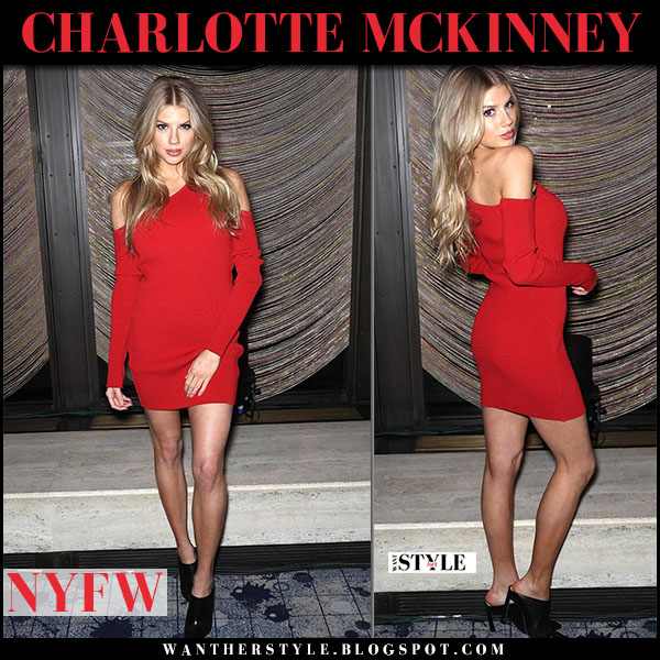 Charlotte McKinney in red off shoulder amiri mini dress and black leather mules stuart weitzman camila party fashion nyfw february 8