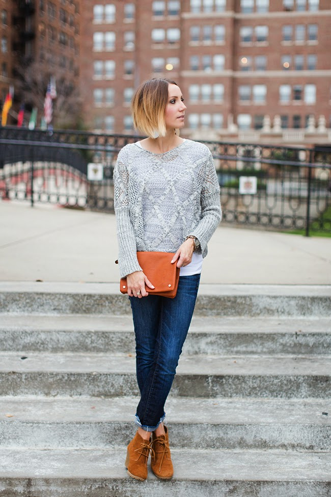 Gray sweater, dark denim, lace up ankle boots
