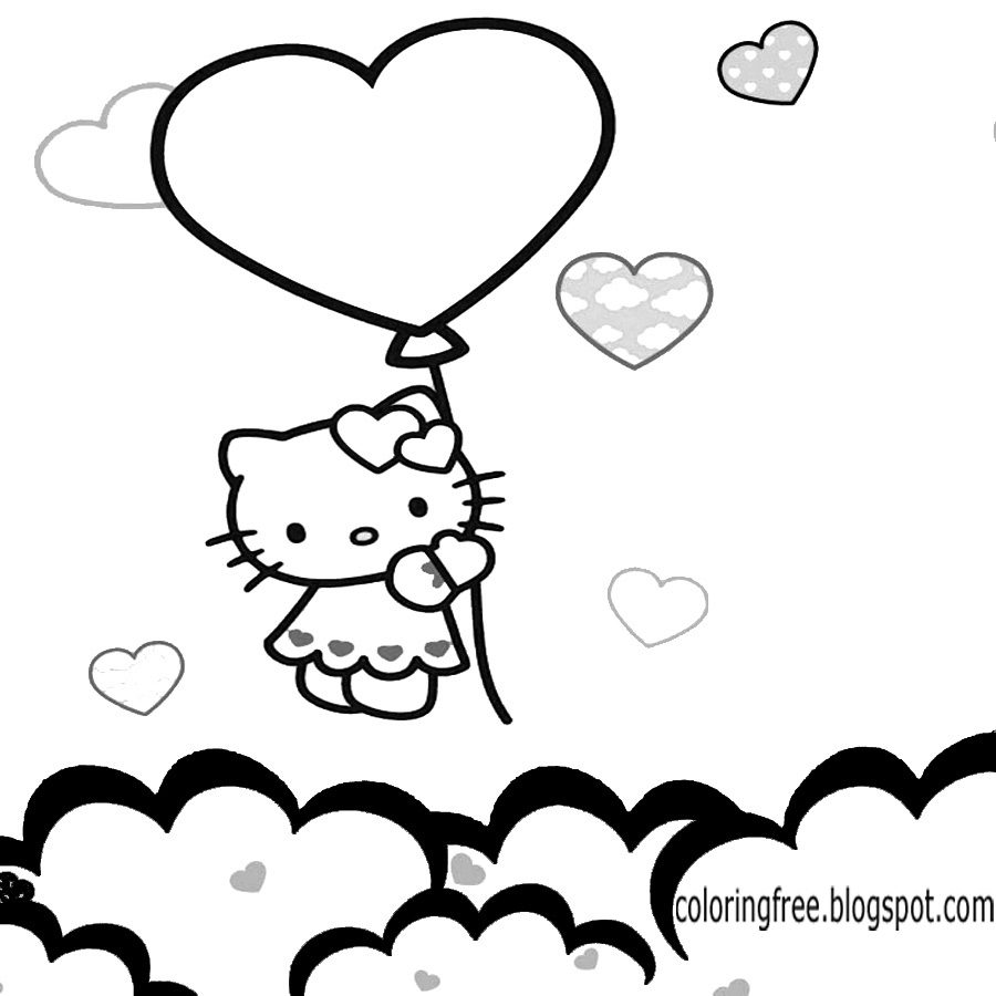 big balloon love heart hello kitty coloring pages free attractive sky printables for teenage girls - Coloring Pages Teenagers Girls