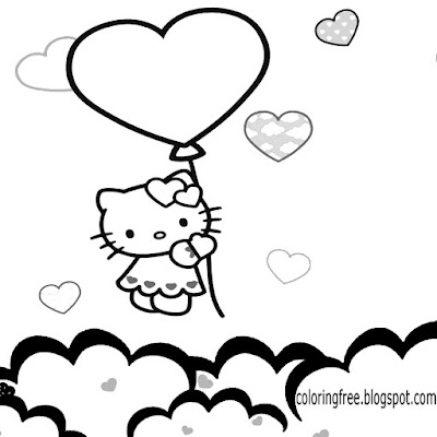 Big Balloon Love Heart Hello Kitty Coloring Pages Free Attractive Sky Printables For Teenage Girls