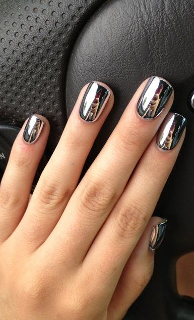 trendy nail art metallic design