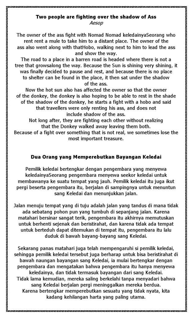 Cerita Bahasa Inggris dan Indonesia