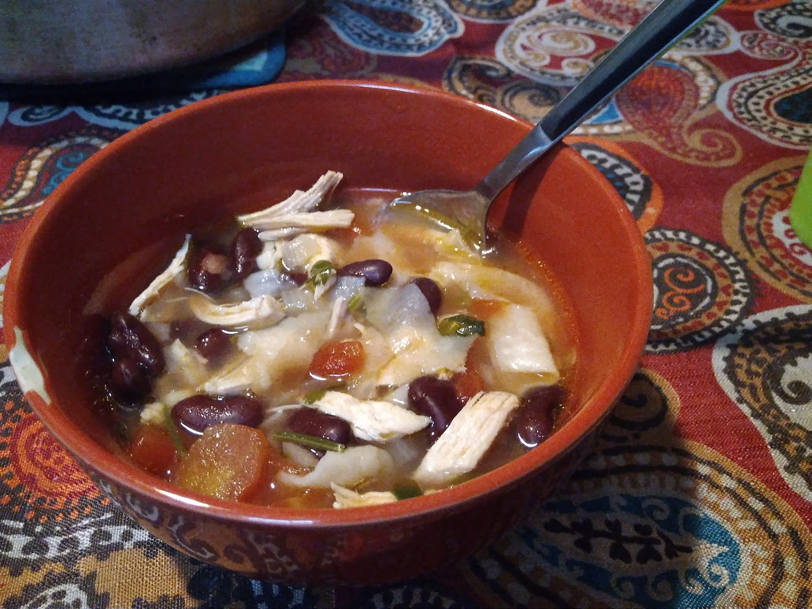 Foodies in a foreign land chicken tortilla soup 2 tbs oil 1 small onion diced 2 tbs garlic minced 1 2 green chilies seeds removed diced optional 6 cups water forumfinder Images