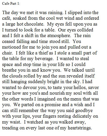 Beauty Incognito: Cafe: A story in paragraphs