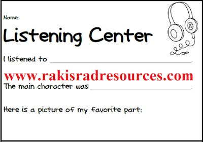 Free listening center recording sheet from Raki's Rad Resources.