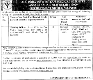 Nursing Officer Govt Jobs in AIIMS Delhi Recruitment Exam Notification 2018 551 Govt Jobs Vacancies Online
