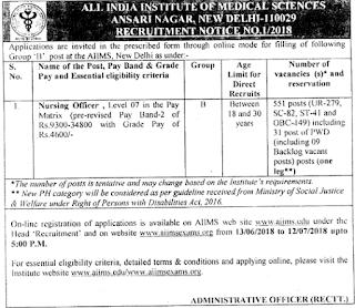 Nursing Officer Govt Jobs in AIIMS Delhi Recruitment Exam Notification 2018 551 Govt Jobs Vacancies Online