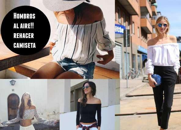 camisetas, refashion, hombros al aire, bricomoda, moda