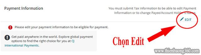 Hướng dẫn nhận tiền từ cj.com về tài khoản Payoneer