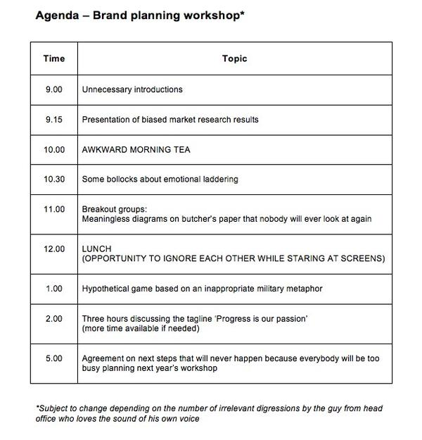 Planning Tools  Hacks Brand Planning Workshop - Standard Agenda - how to write an agenda template