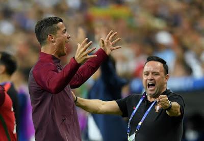 ronaldo celebrating after portugal scores against france