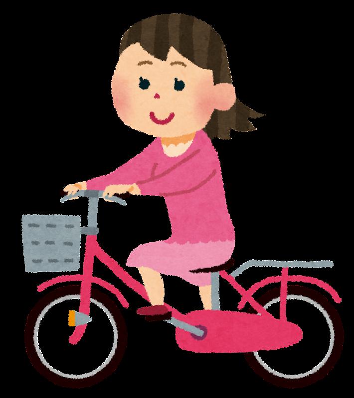 自転車に乗る女性のイラスト | かわいいフリー素材集 いらすとや