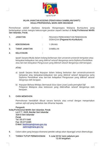 Jawatan Kosong Pensyarah di Institusi Pendidikan MARA (IPMa)