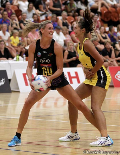 Left: Leana de Bruin, WaiBOP - Pulse vs Waikato Bay of Plenty, pre-season netball at Pettigrew.Green Arena, Taradale, Napier. WaiBOP won 52-41. photograph