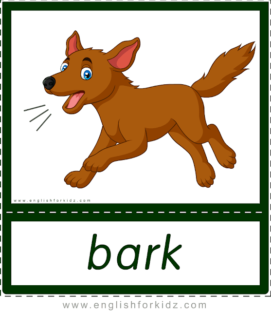 Animal sounds flashcards - bark - dog -- printable ESL resources