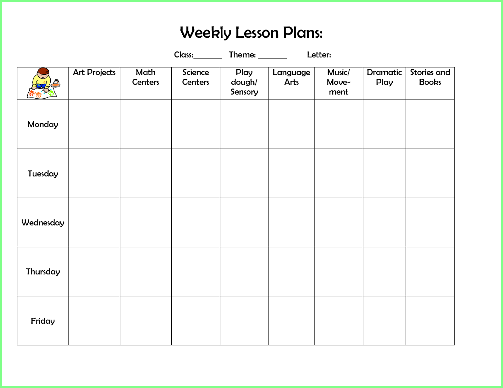 Free Preschool Lesson Plan Template | Resume Letter Business