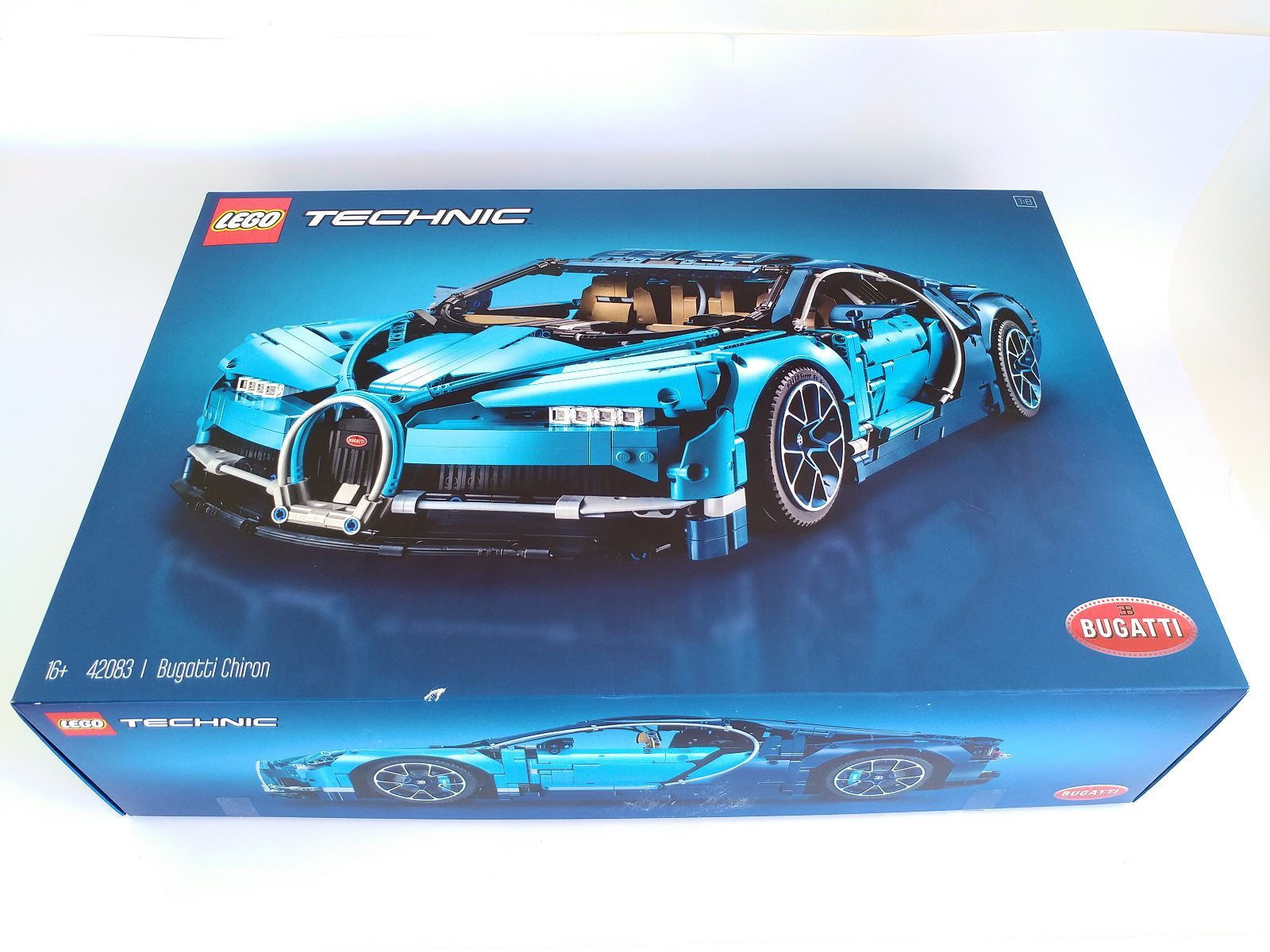 The Front Just Shows Lego Technic And Bugatti Logos Set S Number Description Recommended Age Finished Model On A Simple Blue