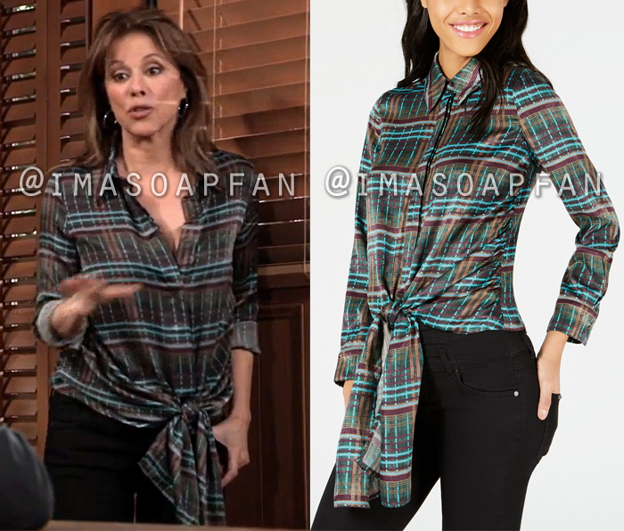 Alexis Davis, Nancy Lee Grahn, Green Plaid Tie-Front Shirt, General Hospital, GH