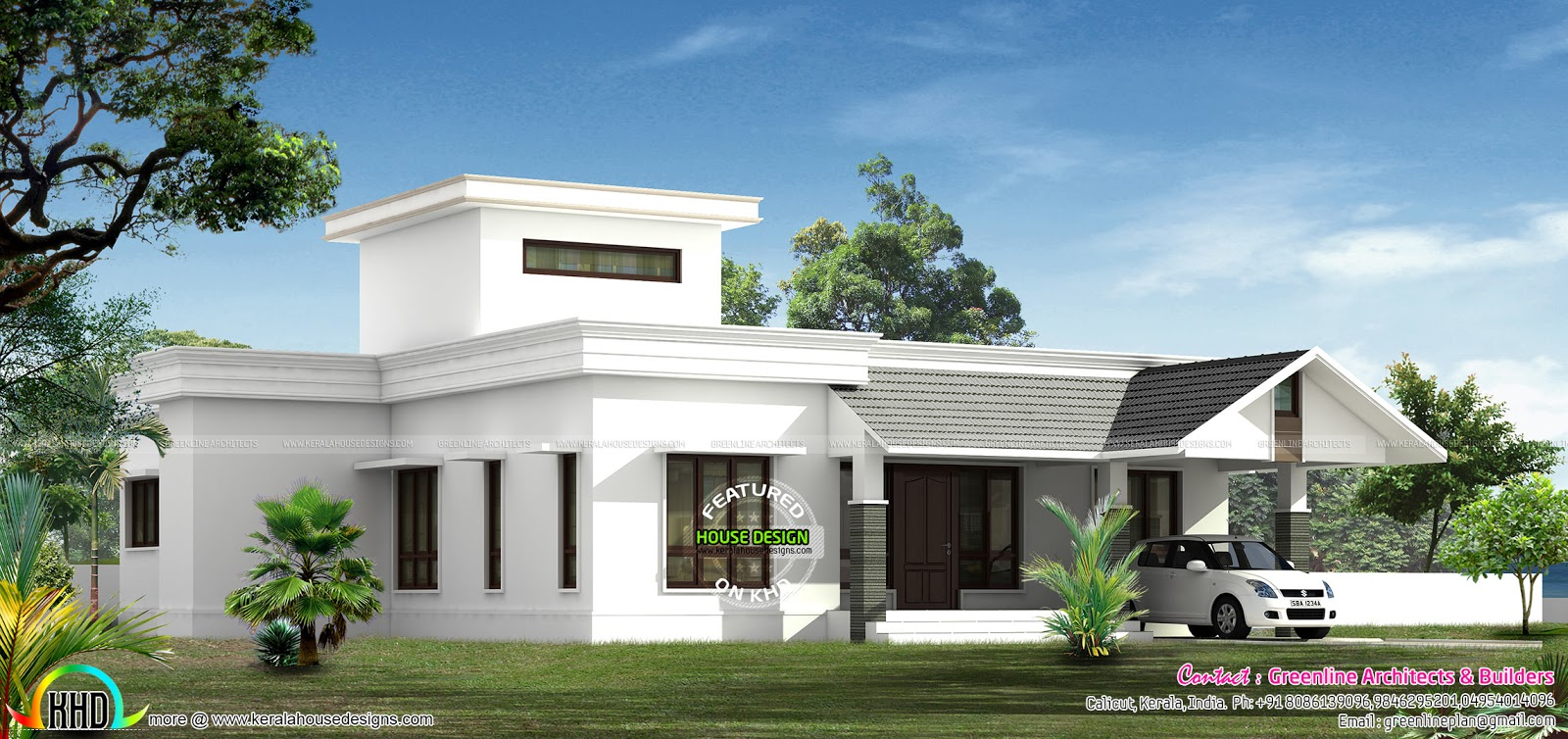 Low budjet single floor house design two side views for Side view house plans