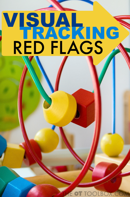 Visual tracking red flags can look like many different visual processing needs. Use this list of visual tracking problems and resulting visual needs to address visual tracking in kids.