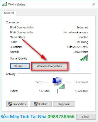 Chọn thuộc tính mạng wifi