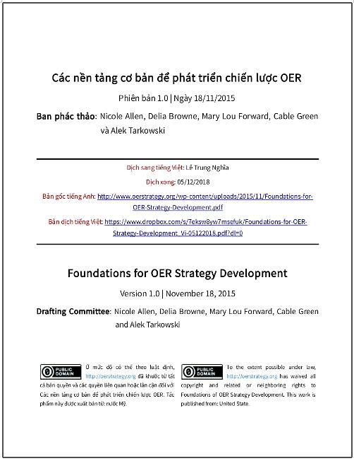 'Các nền tảng cơ bản để phát triển Tài nguyên Giáo dục Mở (OER)' - bản dịch sang tiếng Việt