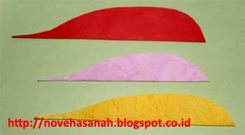 inilah bentuk dasar bulu burung imitasi dari potongan kertas berwarna yang sangat cocok diajarkan pada anak-anak SD atau bahkan yang lebih muda seperti TK