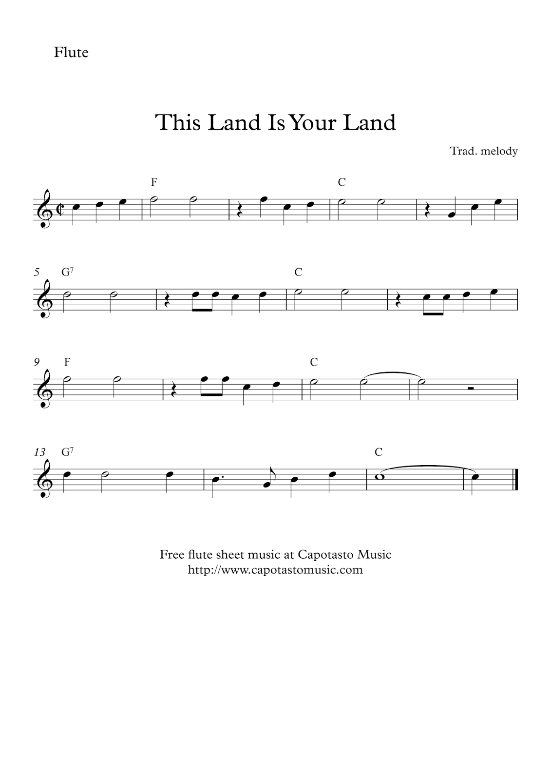 picture about Free Printable Flute Sheet Music called This Land Is Your Land - No cost uncomplicated flute sheet new music