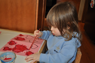 Valentine's day card craft-use watercolor paints to paint hearts