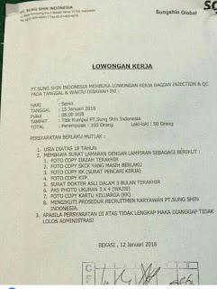 Lowongan kerja terbaru PT SUNG SHIN INDONESIA
