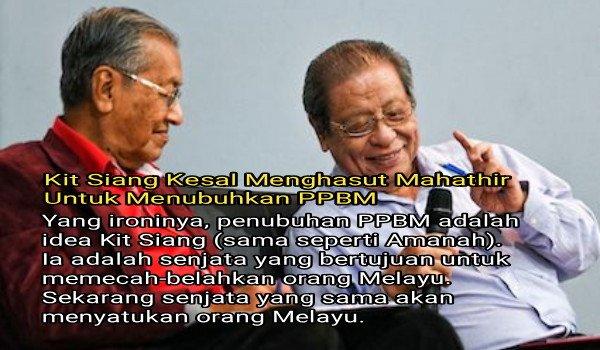 Kit Siang kesal menghasut Mahathir untuk menubuhkan PPBM