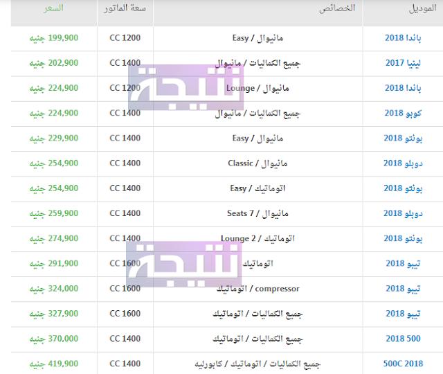 أسعار سيارات فيات 2018 في مصر