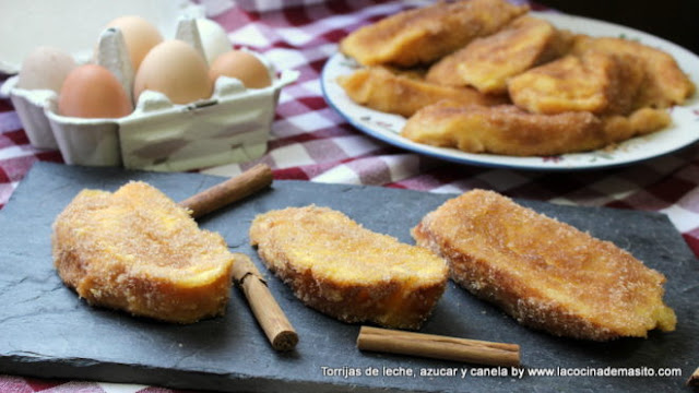 Torrijas de azúcar y canela