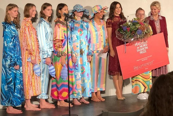 Magasin du Nord Fashion prizes winner designers Emilie Helmstedt. Crown Princess Mary presented 2018 fashion prize to Emilie Helmstedt