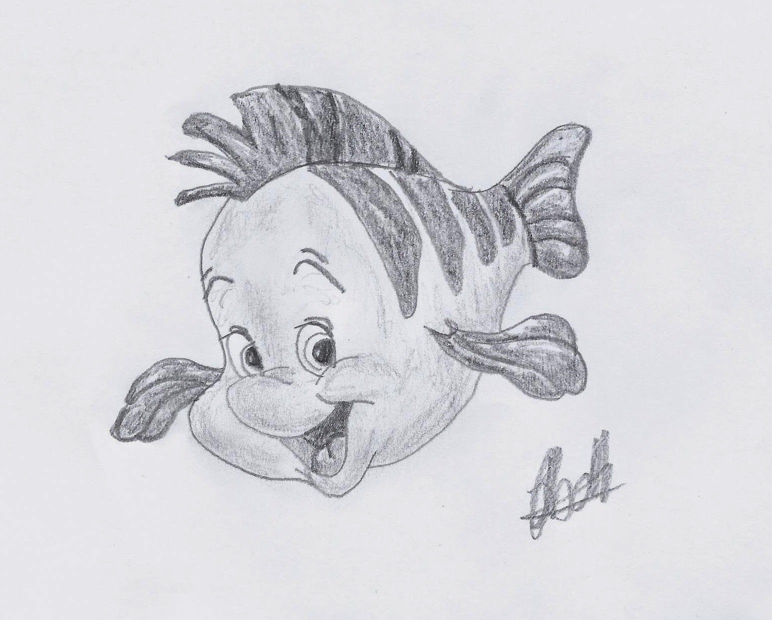 Flounder from The Little Mermaid, Sketch by Jo Linsdell