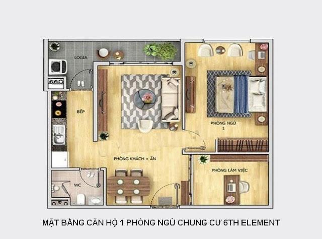 Thiết kế mặt bằng căn hộ 1 PN