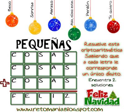 Alfamética, Criptoaritmética, Criptosuma, Juego de letras, Adivina el número, Navidad, Matemáticas y la navidad, Retos matemáticos y navidad, Desafíos matemáticos