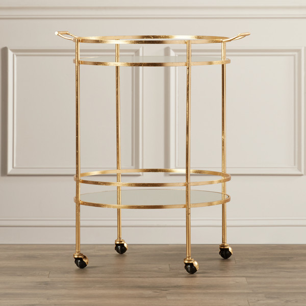 Gold rolling bar cart