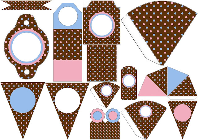 Pink and Light Blue Polka Dots in Chocolate: Free Party Printables.