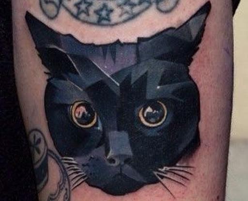 Geométricas Gato Preto Tatuagem