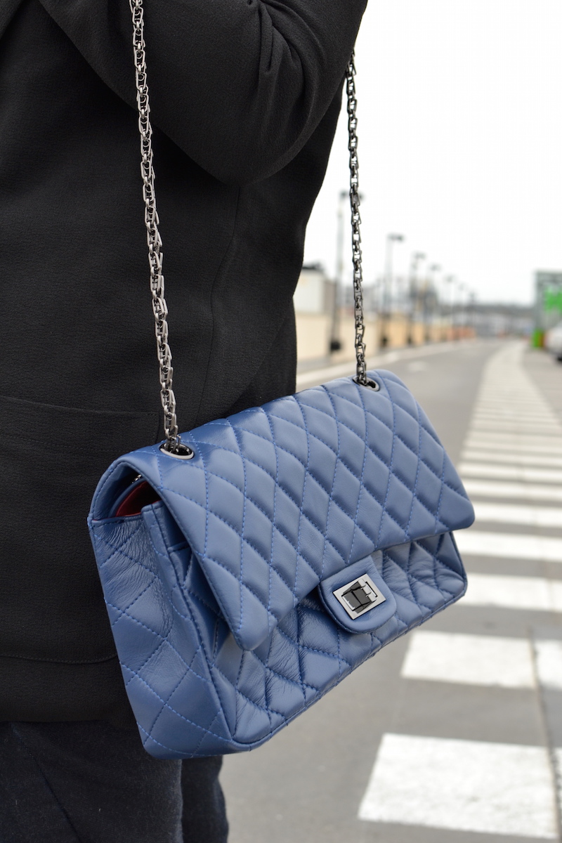 sac matelassé bleu Beau Sans Logo