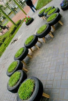 jardinera con llantas