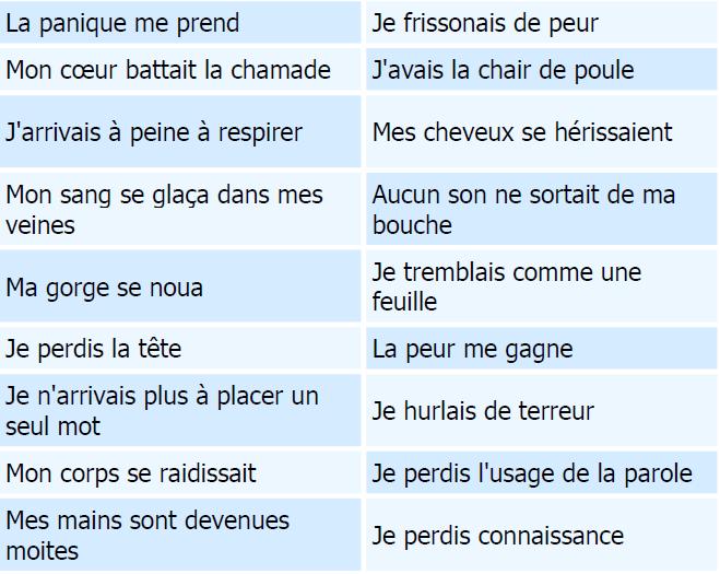 Strach oraz fobie - słownictwo 1 - Francuski przy kawie