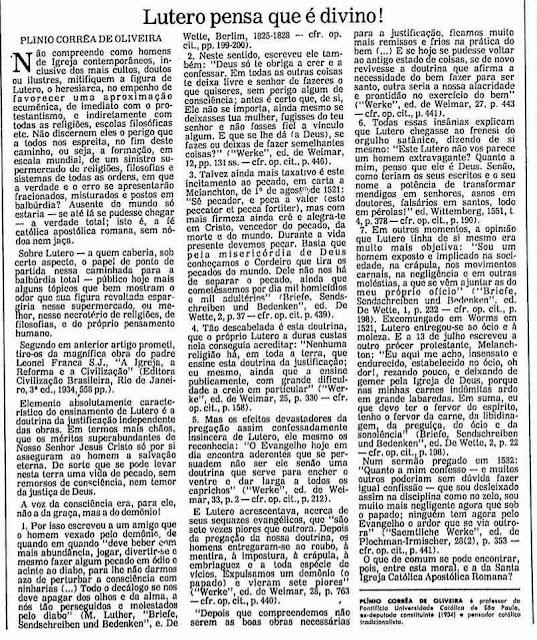 """Fac-símile do artigo """"Lutero pensa que é divino"""". Folha de S.Paulo 10-01-1984.  Acervo Folha"""