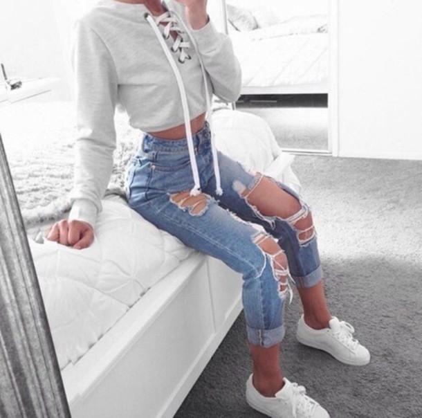 Outfits Tumblr Con Jeans Rotos Que Estan De Moda Elsexoso
