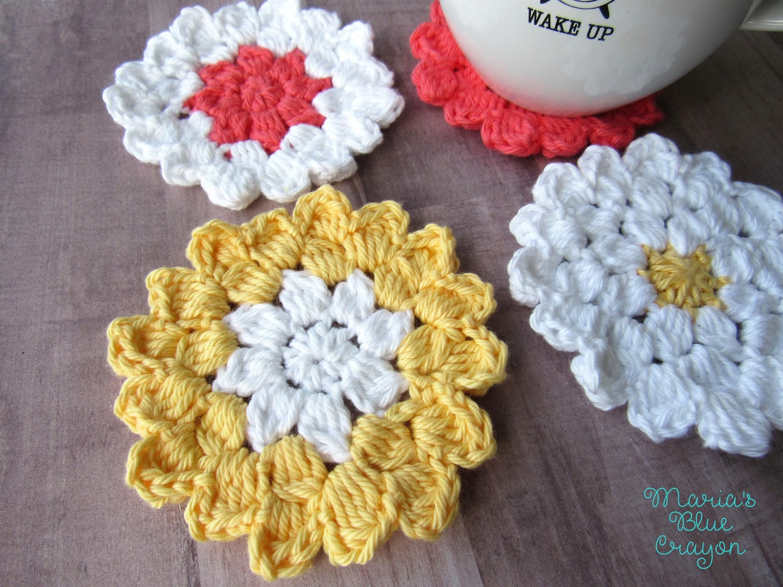 Crochet Flower Coaster Pattern Marias Blue Crayon