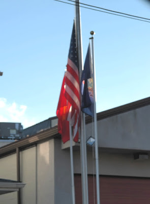 American Flag and Pennsylvania State Flag at Hummelstown Fire Company in Pennsylvania