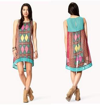 Dress batik modern casual tanpa lengan modis