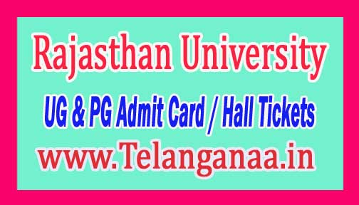 Rajasthan University UG & PG Admit Card / Hall Tickets Download