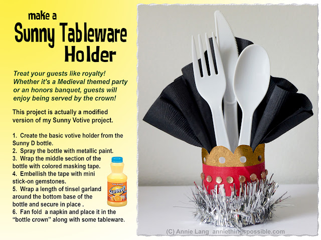 Annie Lang shares a DIY Crown Tableware Holder project made from a Sunny D Bottle